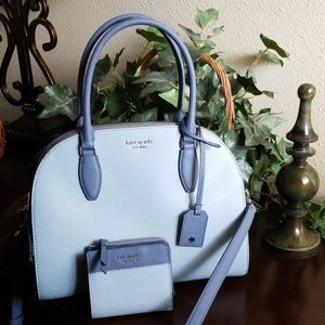 """Kate Spade satchel and wallet in """"blue dawn"""""""